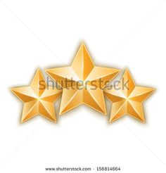 Three golden star isolated on white background. Design elements. Vector illustration. Stock vector - stock vector