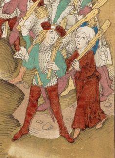 A brave Swiss lady with shopping bag ;-)) ? Diebold Schiling: Spiezer Chronik. Bern 1484/85. Burgunderbibliothek Bern, Mss.h.h.I.16, Page 571