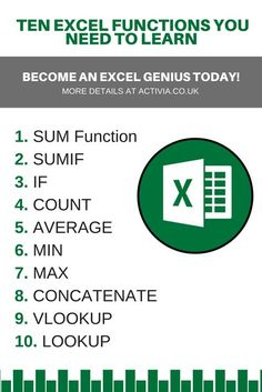 The Top 10 Excel Functions that you should know – Excel formulas and functions – Basic Excel Formulas Computer Shortcut Keys, Computer Basics, Computer Help, Computer Programming, Computer Science, Computer Tips, Computer Lessons, Excel Tips, Excel Hacks