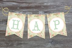 "PAPER DIME DESIGN - ""HAPPY BIRTHDAY"" Shabby Chic bunting pennant banner"