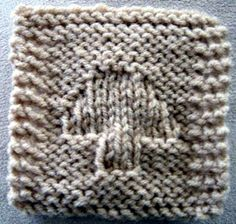 """Mushroom Coaster - A simple pattern, that beginners can try. A nice size coaster, and you knit the """"mushroom"""" into the background with easy stitch pattern. This is good for those who have never tried textured stitches before, as it works up quickly! Uses worsted weight yarn, knitting needles, US #9. Finished size is about 4"""" by 4"""" inches.  $1.00"""