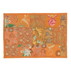 LNR Timbuktu Hand Crafted Patwork Design Orange Cotton and Poly Recyled Sari Placemats