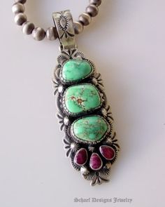 Turquoise and spiny oyster pendant by Mariec5454