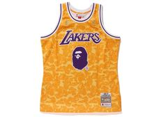 BAPE x Mitchell   Ness Lakers ABC Basketball Swingman Jersey Yellow e54db7ffb