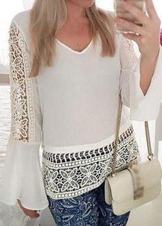 White Long Sleeves Pierced Chiffon Blouse Más
