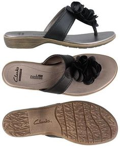Sandals and Flip Flops 62107: Clarks Lusine Gable Thong Leather Womens  Sandal Low Heel Shoes