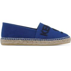Kenzo Espadrilles ($185) ❤ liked on Polyvore featuring shoes, sandals, dark blue, stitch shoes, flat shoes, espadrille sandals, round cap and flat espadrilles