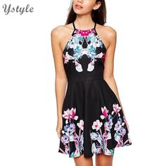 Goedkope Vrouwen Zoete Bloem Prints Halter Jurk 2016 Zomer Dames Mouwloze Bodycon Vestidos Terug Rits Black Jurken Dr174, koop Kwaliteit jurken rechtstreeks van Leveranciers van China:                             Women Desigual Sexy 2 piece Bandage Cropped Dress New Fashion 2015 Slim Bodycon Co