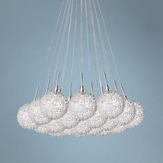 """Starburst Satin Nickel Iron Mesh Glass 19-Light Pendant $770 24"""" diameter max height 53""""  (would be cute out of yarn beads an fishing line as ceiling décor)"""