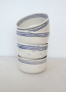 set of three line bowls / ceramic / white / blue / lines                                                                                                                                                                                 More