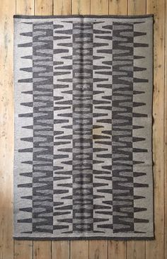 Vintage Swedish grey cream reversible rolakan wool rug 204 x 129 cm