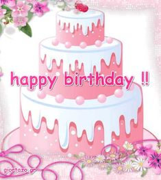 Best Happy Birthday Wishes giortazo Make someone's birthday more special Pics And Gifs Happy Birthday Wishes Pics, Happy Birthday Fun, Birthday Cake, My Favorite Color, My Favorite Things, Christmas Decorations, Greeting Cards, Baguette, Pink