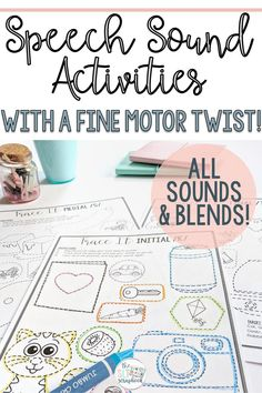 Speech Sound Activities- All Sounds- No Prep- Fine Motor Speech Activities Articulation Therapy, Articulation Activities, Speech Activities, Speech Therapy Activities, Special Education Teacher, Teacher Resources, Tracing Pictures, Phonological Processes, Blending Sounds