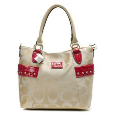2012 Coach New Madison Signature Op Art Tote Bag Apricot $59.90