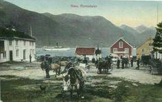 Møre og Romsdal fylke Næs =(Åndalsnes i dag) Romsdalen. Kolorert. Utg C.A. Erichsen ca,1900