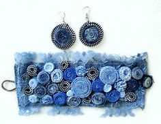 Blue Jean Denim & Lace Cuff Bracelet-Denim by eMDesignBoutique