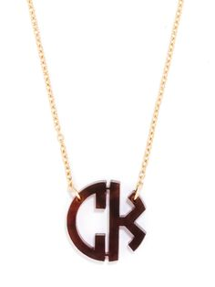 """Acrylic Block Monogram Necklace (SHIPS 1 WEEK FROM ORDER DATE)  gold and tortuise CRR 18"""" chain - large size"""