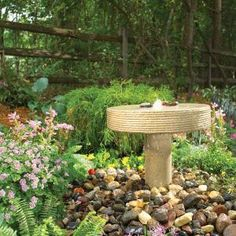 Millstone DIY fountain. I imagine the birds would like it, too.