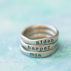 White Gold Stacking Rings With the boys names on it