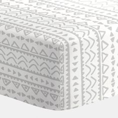 Crib Fitted Sheet in and Silver Gray Baby Aztec by Carousel Designs.