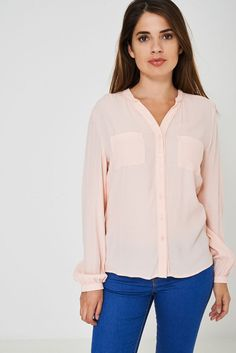 This light pink shirt is designed with an elegant pointed collar and single cuffs. Shirt Blouses, Shirts, A3, Blouses For Women, Pink Ladies, Elegant, Model, How To Wear, Stuff To Buy