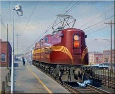 """""""Big Vinnie Highballs The Shore Train.""""  Pennsy GG1 #4929 departs from a station along the Jersey Shore with on the """"Congressional Limited"""" consists as the conductor gives the signature """"All aboard!""""  Painting by Andrew Harmantas"""