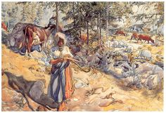 Cowgirl in the meadow  Artist: Carl Larsson  Completion Date: 1906