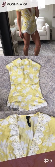 Hello Molly! Romper! Super cute yellow romper with white embroidery! Have clasp to wear neckline higher or lower! Size small. Tie as waist, very flattering! Enjoy! ☀️ Andree Dresses