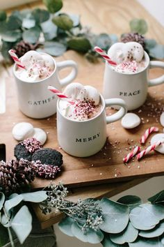 Festive Winter Drinks For Serving A Crowd – This Boozy Peppermint Hot Chocolate Is Sugar, Spice, & Everything Nice - Camille Styles Christmas Drinks, Noel Christmas, Halloween Drinks, Christmas Desserts, Christmas Treats, Christmas Baking, Christmas Cookies, Xmas, Christmas Holiday