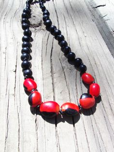 Red and Black Organic Necklace, Huayruro Seed Beads, Acai Seed Beads, Eco-Friendly Jewelry, Vegan Jewelry, Statement Jewelry by TerriJeansAdornments on Etsy