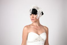 """Z MALAN """"LA BOHEME"""" Beaded Chantilly lace fascinator with swarovski crystal accents for wedding, bridal, and special occasions  www.zmalan.com"""