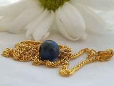 Lapis Lazuli SemiPrecious Ball Pendant Charm by RoseTeaAndRabbit