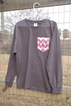 Long Sleeved Monogrammed Fabric Pocket T by MaxwellMonogramming, $19.99