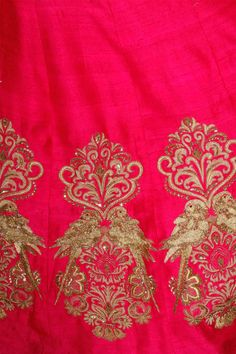 Red embroidered motifs lehenga with green blouse available only at Pernia's Pop Up Shop. Embroidery Suits Punjabi, Zardozi Embroidery, Hand Work Embroidery, Embroidery Suits Design, Indian Embroidery, Silk Ribbon Embroidery, Embroidery Patterns, Dress Neck Designs, Blouse Designs