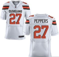 Men's Cleveland Browns #27 Jabrill Peppers White Nike NFL Elite Jersey