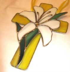 EASTER LILY CROSS DECORATIVE STAINED GLASS, $20