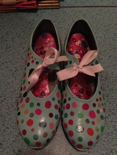 Tap Shoes, Hand-Painted Polka Dot, Wom. Size 7 and a half