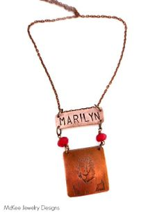 Marilyn Monroe etched copper pendant necklace. Red stone. McKee Jewelry Designs