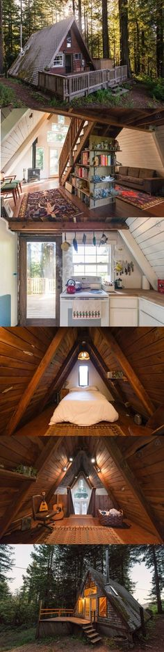 The coziest looking cabin ever. All I need is some strong WiFi A Frame House Plans, A Frame Cabin, Tiny House Plans, Tiny House Cabin, Tiny House Living, Cabin Homes, Ideas Cabaña, Cabins And Cottages, Cabin Plans