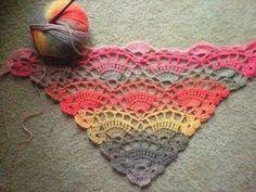 Free crochet shawl pattern on Ravelry. (I don't crochet, but look at that yarn! Crochet Diy, Poncho Au Crochet, Crochet Shawls And Wraps, Love Crochet, Crochet Scarves, Crochet Crafts, Crochet Stitches, Crochet Projects, Blanket Crochet