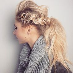 This intricate side braid is one that you can pair with a ponytail to give you that mohawk look.