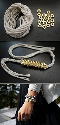 Cool bracelet you can create using just Hex Nuts and Twine. For free design instructions: http://honestlywtf.com/diy/diy-braided-hex-nut-bracelet/