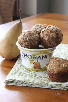 Whole Wheat Chobani Pear Muffins with an Oatmeal Crunch topping.