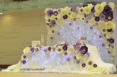 Президиум на свадьбу из бумажных цветов. Paper flowers backdrop wedding by colorevent