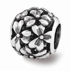 Sterling Silver Filigree Flower Bead