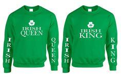 Couple Sweatshirt Irish Queen Irish King St Patrick's Party Set  #couple #sweatshirt #stpatricksday #king #queen