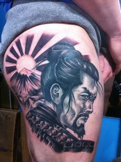 Grey Ink Samurai Warrior Tattoo On Thigh