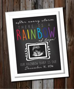 Custom Printable Rainbow Baby Pregnancy Announcement Photo Prop Poster, Ultrasound, Sonogram - {- The Rainbow Baby -} - Babyshower, Rainbow Baby Announcement, Pregnancy Announcement Photos, Baby Announcements, Rainbow Paper, Third Baby, Baby Gender, Reveal Parties, Trendy Baby