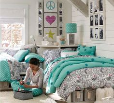 Teal teen bedroom pretty bedroom design for teenage girls black and white patterns teamed with aqua . Teal Teen Bedrooms, Retro Bedrooms, Teen Girl Rooms, Teenage Girl Bedrooms, Girls Bedroom Furniture, Kids Bedroom, Bedroom Decor, Bedroom Ideas, Bed Furniture