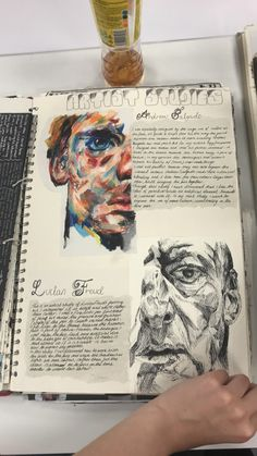 Draw and write about the artist who you study and inspire you Gcse Art Sketchbook, A Level Art Sketchbook Layout, Sketchbooks, Sketchbook Inspiration, Sketchbook Ideas, Wow Art, Art Portfolio, Art Plastique, Aesthetic Art